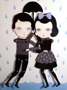 The Loveliest Rainfall Paper Dolls  Amy Earles