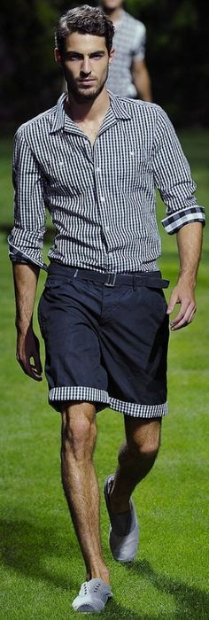 Checkered men's shirt with matching fabric on cuffed shorts