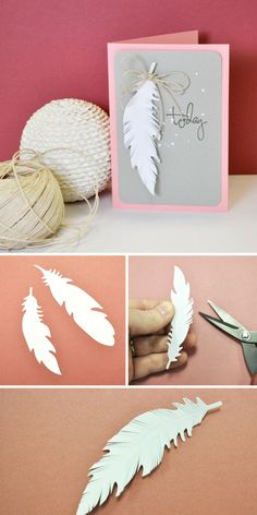 Try out this clean, simple & easy DIY feather card make with some brand new Sizzix dies. Perfect for last minute cardmaking - DIY cards - Sizzix card ideas - Sizzix cards tutorial - Big Shot Ideas- handmade cards