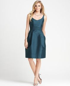 Silk Dupioni Scoopneck Bridesmaid Dress  ♥ the color