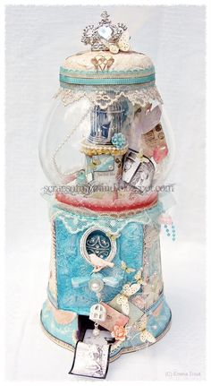 I am in LOVE with this x 1000! An altered bubblegum machine/ memory jar by DT member Emma Trout