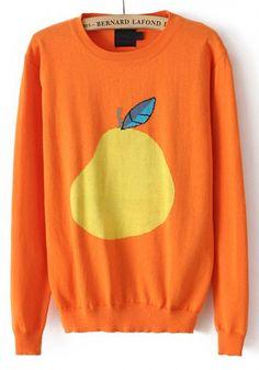 Orange Pear Print Round Neck Cotton Blend Sweater