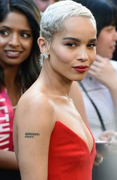 Zoe Kravitz continued the spicy red motif with a matching scarlet pout