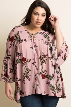 Pink Floral Button Front Peplum Plus Blouse Plus Size Peplum, Plus Size Blouses, Plus Size Dresses, Plus Size Outfits, Cute Sweatshirts For Girls, Big Size Fashion, Hijab Fashion, Fashion Outfits, Women's Plus Size Swimwear