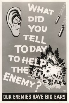 Ordnance factory poster reminding employees to not help enemies 1943