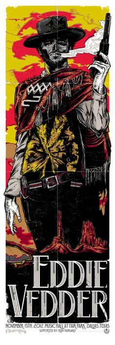 INSIDE THE ROCK POSTER FRAME BLOG: Tonight's Eddie Vedder Poster from Dallas Texas by Rhys Cooper