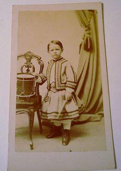 Antique photographs Carte de Visite  Cabinet Cards 1800's set of 3 cards  Boy with Tin Drum 1860's. $35.00, via Etsy.