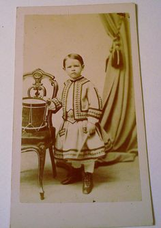 Antique photographs Carte de Visite  Cabinet Cards 1800's set of 3 cards  Boy with Tin Drum 1860's. $35.00, via Etsy.