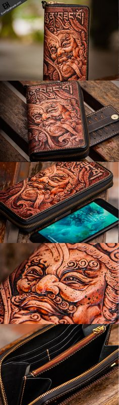 Handmade leather Sea God biker wallet clutch zip long wallet brown