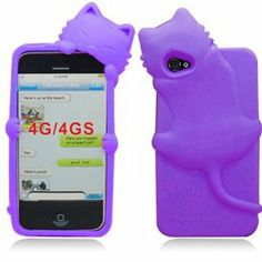 Kitty Cat Silicone Soft Skin Gel Case Cover and Cute 3D Kiki Cat For iPhone 4 4S 4G silicone Cover Case-Purple