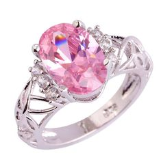 Oval  Crystal Pink Topaz Ring