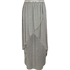 Grey Dip Hem Wrap Skirt-lovely everyday caj skirt! You can wear it with anything-tennis shoes, flip flops, brogues...fitted white tank top and cropped denim jacket w a scarf. Cute!!