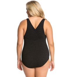 $53 Penbrooke Krinkle Plus Size Cross Back Chlorine Resistant One Piece Swimsuit at SwimOutlet.com - The Web's most popular swim shop