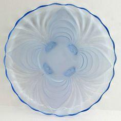 Cambridge Alpine Caprice Blue Platter 14 inch Cabaret Elegant Glass Vintage