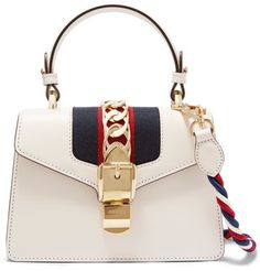 Gucci - Sylvie Mini Chain-embellished Leather Shoulder Bag - White