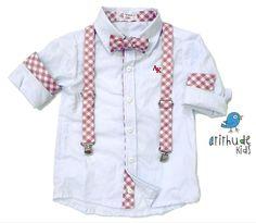 Camisa Mike - Branca com detalhes em xadrez rosa - atithudekids.com.br