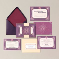 Vintage Violet and Peach Wedding Invitations by Pretty Together featuring an Art Deco design.