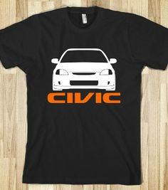 honda car apparel for women | Honda Civic v.2 - Carstyle - Skreened T-shirts, Organic Shirts ...