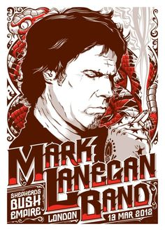 Joshua Budich – Art Gallery – Illustration, Graphic Design, Web Design – Mark Lanegan Band – GigPoster – Beyond the Pale Rock Posters, Band Posters, Music Posters, Event Posters, Concert Flyer, Concert Posters, Rhys Cooper, Mark Lanegan, Grunge