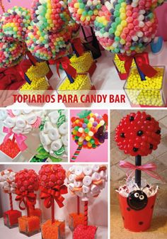 We love all of these colorful and creative candy topiaries! They're an easy way to impress at your next gathering. Get your party supplies at Powell's Sweet Shoppe in Laguna Niguel! Candy Topiary, Candy Trees, Candy Centerpieces, Bar A Bonbon, Sweet Trees, Candy Crafts, Creation Deco, Chocolate Bouquet, Party Decoration