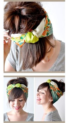 Hair Scarf with Fold-over Knot