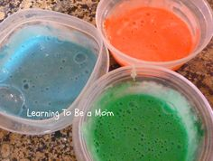 Learning To Be a Mom: Bubble Bath Paint - 1 cup baby shampoo, 3 1/2 tablespoons cornstarch, food coloring - turns into bubblebath when you are finished