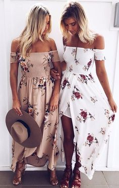 off the shoulders maxi floral prints