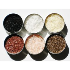 Featured: Glamour.com - Gourmet Salt Sampler - 6 delicious gourmet salts - hostess / foodie gift (16 CAD) via ETSY