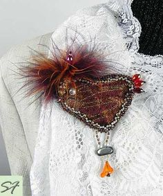 Bird Brooch Bead Embroidered Jewelry, Brown Brooch, Brooch Beadwork, Velvet Brooch, Gift for Her, Cool Gift by SilkFantazi on Etsy