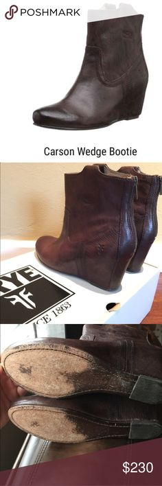 Frye Carson Wedge Ankle Bootie Size 8 Dark Brown- Size 8-                                               I wore these twice and other than the soles (which look exactly like all Frye boots after being worn even once), these boots are in absolutely perfect condition. Leather is perfect no scratches or imperfections. Super comfy! Any questions just ask! Frye Shoes Ankle Boots & Booties