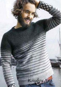 Мужской вязаный пуловер реглан