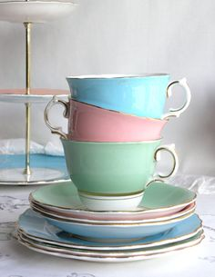 A trio of trios: 3 lovely Colclough china teasets, English bone china in green, blue / turquoise and pink. $77.00, via Etsy.
