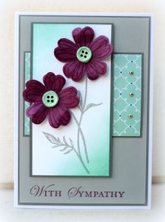 Flower Shop stamp set, Pansy Punch, Quatrefancy DSP, Simply Pressed Clay and Buttons Mold
