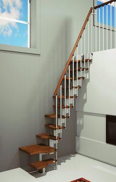 Interior. Interior Space-Saver Staircase Design Ideas. Interior Space-Saving Ideas with Minimum Space Landing Staircase Design with Nice Separated Walnut Beech Treads