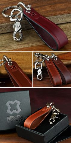 Send your graduate off in style with a handsome leather key chain personalized with their first or last name initial embossed into this stylish key fob. Handcrafted in USA from top grade Bridle Leather and quality hardware. Leather Key Holder, Leather Keyring, Leather Gifts, Leather Tooling, Leather Wallet, Leather Accessories, Leather Jewelry, Diy Leather Projects, Small Leather Goods