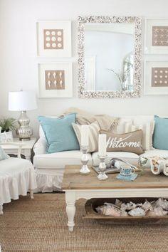 Beachy and coastal style living room ideas 54