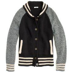 Madewell MADEWELL Letterman Sweater-Jacket ($158) ❤ liked on Polyvore