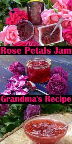 Jelly Recipes, Jam Recipes, Canning Recipes, Drink Recipes, Rose Petal Jam, Rose Petal Jelly Recipe, Rose Petal Uses, Edible Roses, Edible Rose Petals