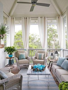 Charming Outdoor Curtains For Screened Porch Ideas with Georgia Carlee House Of Turquoise Outdoor Spaces Ph And Porch House Of Turquoise, Turquoise Accents, Turquoise Glass, Outdoor Rooms, Outdoor Decor, Outdoor Fabric, Outdoor Curtains For Patio, Outdoor Daybed, Indoor Outdoor Furniture