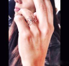 Love flower silver ring with black enamel