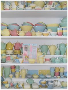 Dishes, dishes, dishes, #pastel. I want them all! this is not a shop, its someones house!
