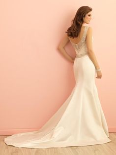 mermaid satin wedding dress v neck sleeveless open back floor length