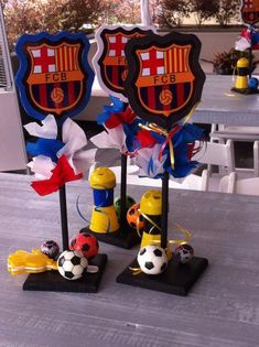 Messi Birthday, Soccer Birthday Parties, 11th Birthday, Barcelona Soccer Party, Fc Barcelona, Birthday Party Centerpieces, Fiesta Party, Birthday Crafts, Party Activities
