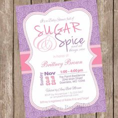 Damask Sugar and spice girl baby shower by ModernBeautiful on Etsy