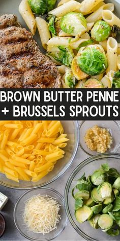 This five ingredient Penne with Brussels Sprouts and Parmesan is swimming in a rich brown butter sauce. The perfect vegetarian meal or quick and easy side dish! Pork Recipes For Dinner, Italian Dinner Recipes, Best Pasta Recipes, Pasta Salad Recipes, Easy Healthy Recipes, Lunch Recipes, Beef Recipes, Cabbage Recipes, Rice Recipes