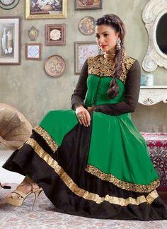 Green Faux Georgette Party Wear Churidar Suit Shop Now : http://www.cfashionbazaar.com/