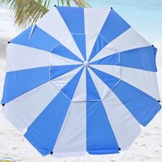 8' Premium Beach Umbrella with Integrated Anchor and Hanging Hook