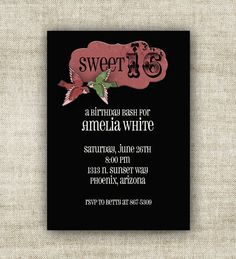 sweet 16 party invite  @Cardtopia Designs  #sweet16