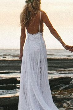 Spaghetti Straps Lace Bare Back Chiffon Sexy Beach Wedding Dress - Shedressing.com