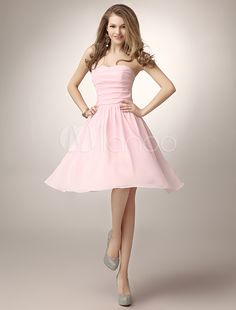 7c57b27d0a97 Pink Knee-Length Ruched Chiffon Bridesmaid Dress with Elegant A-line  Sweetheart Neck.